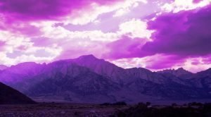 Purple mountains speak of the love of God