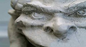 This image is an ornament of an evil face representing a demon